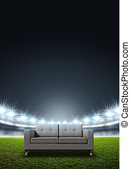 Generic Floodlit Stadium - A modern sofa in the middle of a...
