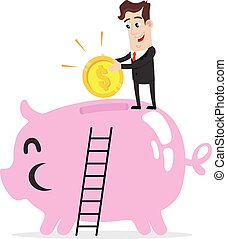 Businessman saving money - Clipart picture of a businessman...