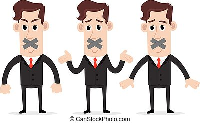 Businessman silenced with duct tape - Clipart picture of a...