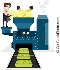 Businessman transforming ideas - Clipart picture of a...