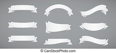 Set of White Paper Ribbons