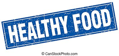healthy food blue square grunge stamp on white