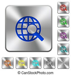 Steel web search buttons - Engraved web search icons on...