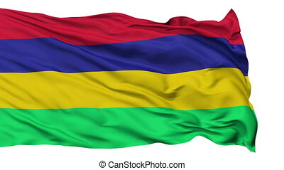 Isolated Waving National Flag of Mauritius