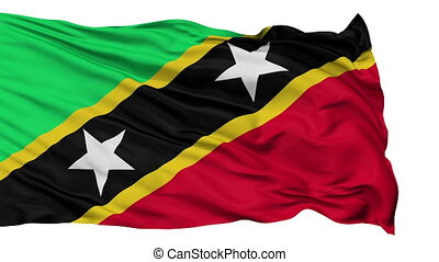 Isolated Waving National Flag of Saint Kitts and Nevis