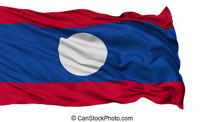 Isolated Waving National Flag of Laos