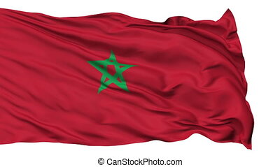 Isolated Waving National Flag of Morocco - Morocco Flag...