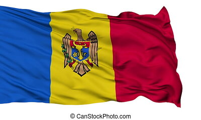 Isolated Waving National Flag of Moldova - Moldova Flag...