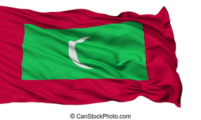 Isolated Waving National Flag of Maldives