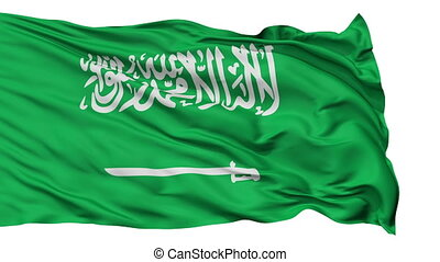Isolated Waving National Flag of Saudi Arabia - Saudi Arabia...
