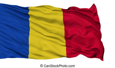 Isolated Waving National Flag of Romania