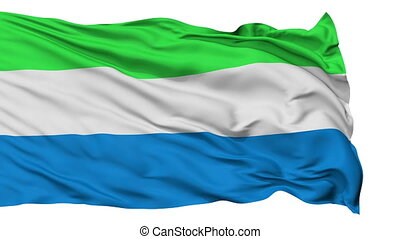 Isolated Waving National Flag of Sierra Leone - Sierra Leone...