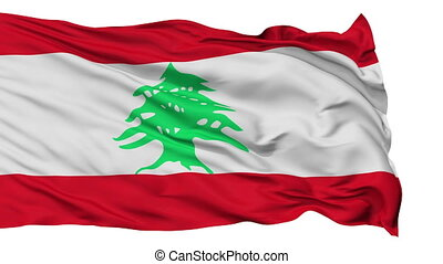 Isolated Waving National Flag of Lebanon - Lebanon Flag...