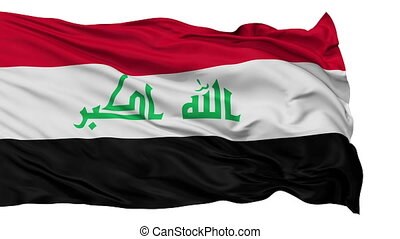 Isolated Waving National Flag of Iraq