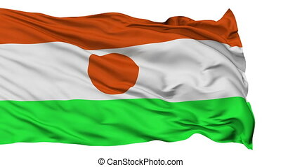 Isolated Waving National Flag of Niger