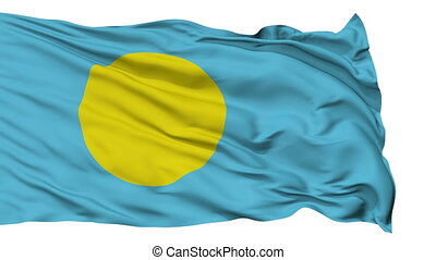 Isolated Waving National Flag of Palau - Palau Flag...