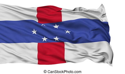 Isolated Waving National Flag of Netherlands Antilles