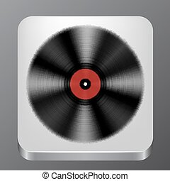 Music App Icon with Vinyl Record