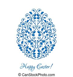 Easter egg with blue floral ornament over white