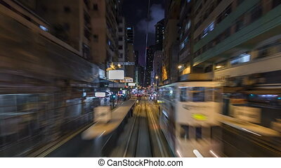 View from double-decker tram on street of HK timelapse...