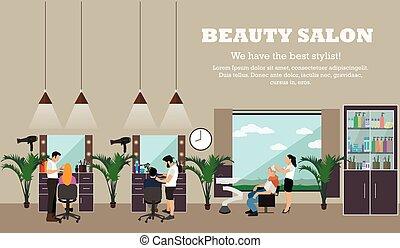 Beauty salon interior vector concept banners. Hair style...