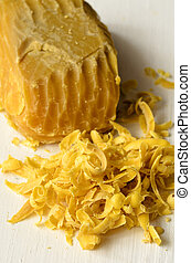 Beeswax, natural wax produced by honey bees