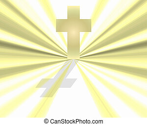 White Cross in White Light - White cross casting a shadow in...