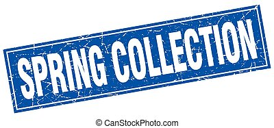spring collection blue square grunge stamp on white