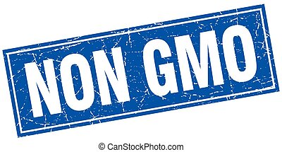 non gmo blue square grunge stamp on white