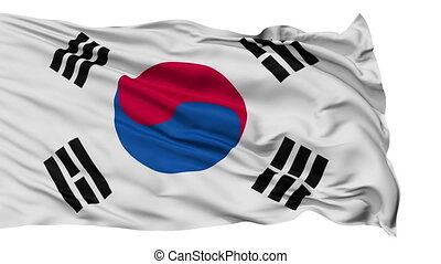 Isolated Waving National Flag of South Korea - South Korea...