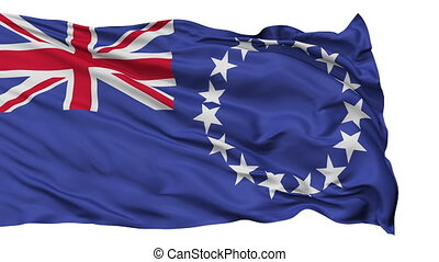 Isolated Waving National Flag of Cook Islands - Cook Islands...