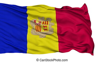 Isolated Waving National Flag of Andorra - Andorra Flag...