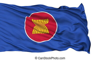 Isolated Waving Flag of Asean - Asean Flag Realistic...