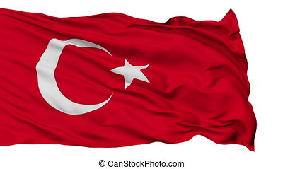Isolated Waving National Flag of Turkey - Turkey Flag...