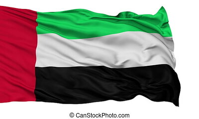 Isolated Waving National Flag of United Arab Emirates