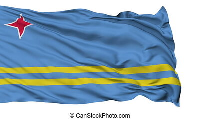 Isolated Waving National Flag of Aruba - Aruba Flag...