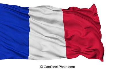Isolated Waving National Flag of France