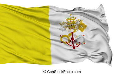 Isolated Waving Flag of Vatican City - Vatican City Flag...