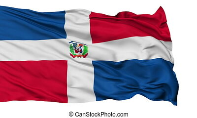 Isolated Waving National Flag of Dominican Republic -...