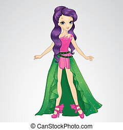 Cute Fairy With Purple Hair - Vector illustration of...