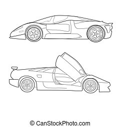 Two Outline Sports Cars - Vector colouring illustration of...