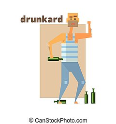 Drunkard Abstract Figure Flat Vector Illustration With Text