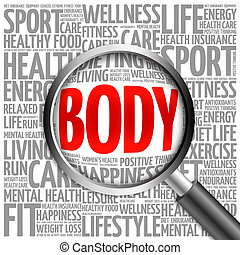 BODY word cloud with magnifying glass, health concept