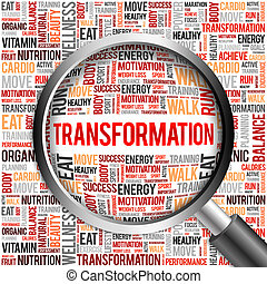 TRANSFORMATION word cloud with magnifying glass, health