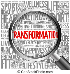 TRANSFORMATION word cloud with magnifying glass, health...
