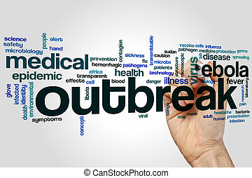 Outbreak word cloud concept with ebola epidemic related tags