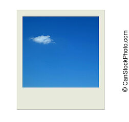 Polaroid with blue sky