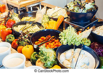 Salad bar - Selective focus point on salad bar - Filter...