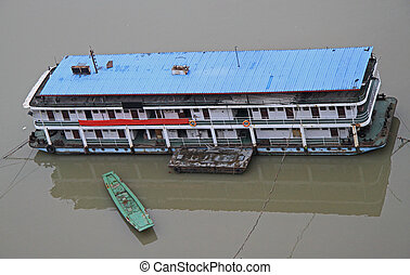 ship on the river Yangtse in Chongqing