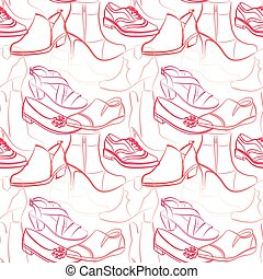 Vector seamless pattern of various women's shoes